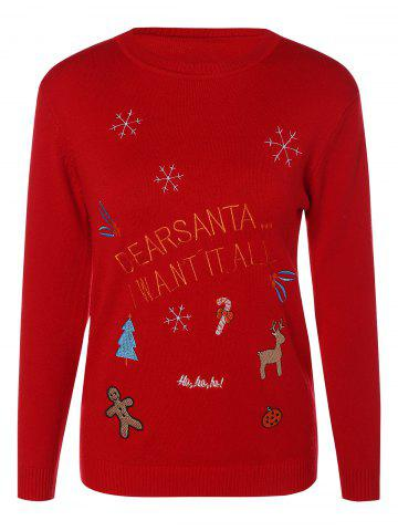 Trendy Crew Neck Christmas Pullover Sweater RED ONE SIZE