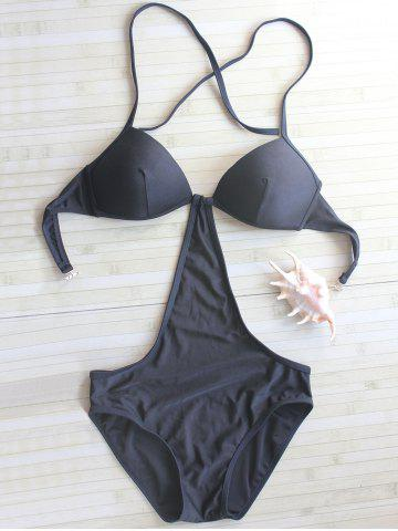 Online Halter Backless Swimwear BLACK L