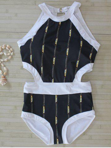 New Chain Print Cut Out Swimwear BLACK L
