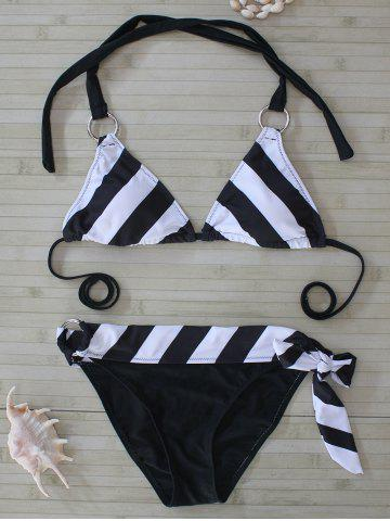 Shops Striped Metal Embellished Bikini Set