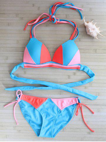 Self Tie Contrast Bikini Set