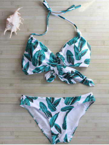 Fancy Self Tie Leaf Print Bikini Set WHITE L