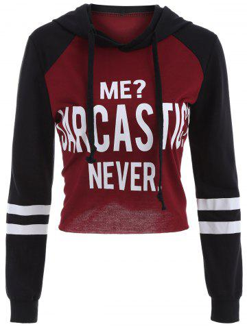 Outfits Letter Graphic Cropped Hoodie RED/BLACK XL