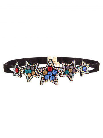 Latest Star Rhinestone Faux Leather Necklace