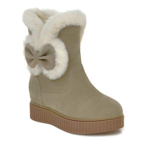 Faux Fur Bowknot Increased Internal Snow Boots - Khaki - 38