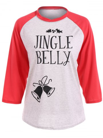 Online Christmas Raglan Sleeve Jingle Belly T-Shirt RED XL