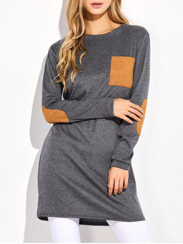 Trendy Elbow Patched Longline Pocket T-Shirt GRAY XL