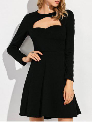 Keyhole Cut Out Knee Length A Line Dress - Black - S