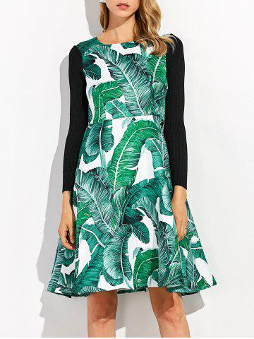 Cheap Knitted Leaf Printed Hawaiian Luau Dress With Sleeves