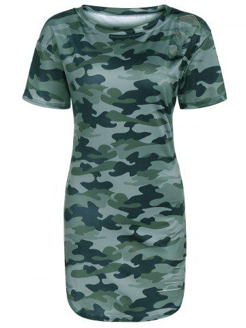 Fancy Round Neck Camo T- Shirt Dress