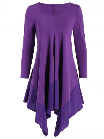Shops Long Sleeve Asymmetric Handkerchief Cream Dress PURPLE L