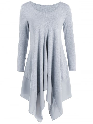 Unique Long Sleeve Asymmetric Handkerchief Cream Dress GRAY L