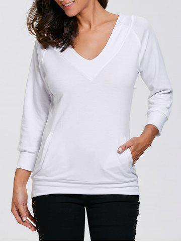 Chic Slimming V Neck Pullover Hoodie WHITE XL