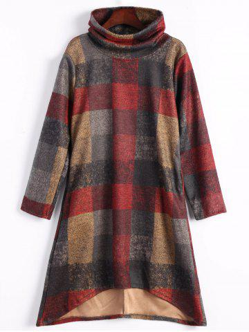 High Low Funnel Neck Plaid Dress - Gray - M