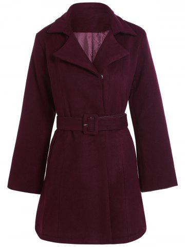 Outfits Belted Plus Size Overcoat WINE RED 5XL