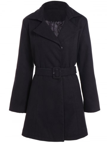 Belted Plus Size Overcoat - Black - Xl