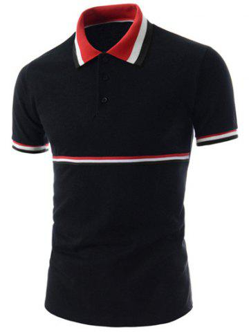 Trendy équipée col rabattu Polo polyester Stripes Splicing Color Block manches courtes T-shirt