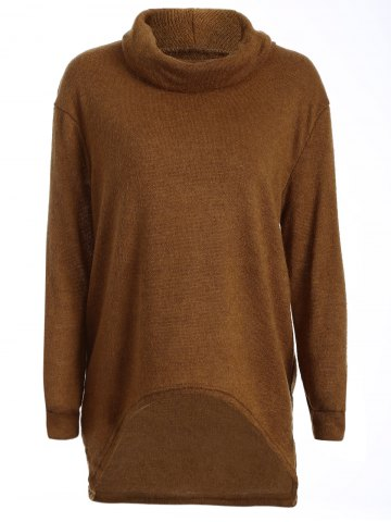 Buy Turtleneck Long High Low Sweater CAMEL XL