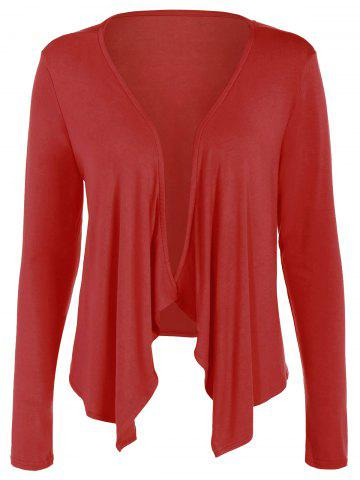 Long Sleeve Drape Open Front Short Cardigan - Red - M