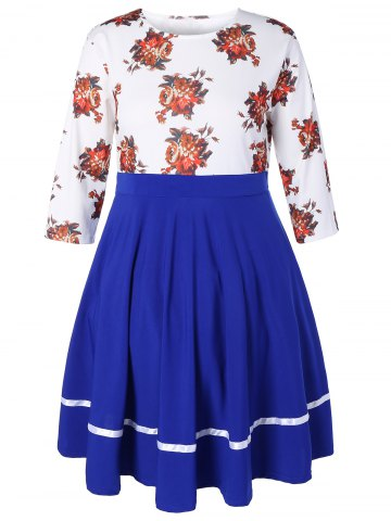 Cheap Plus Size Floral High Waisted Fare Dress