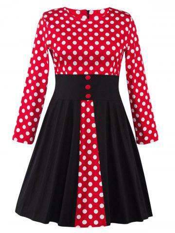Outfits Plus Size Retro Polka Dot Long Sleeve Skater Dress BLACK/WHITE/RED 4XL