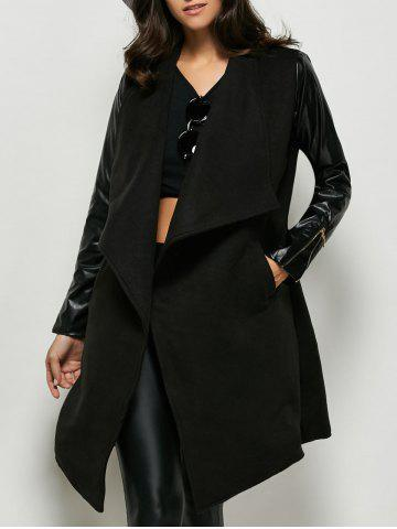 Chic Faux Leather Panel Wool Blend Coat