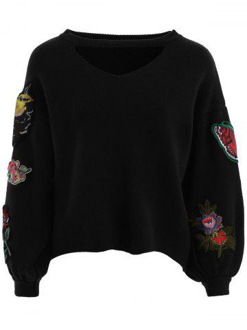 Hot Floral Embroidered Choker Sweater