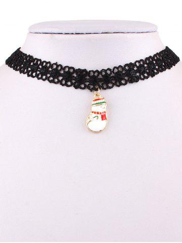 Shops Christmas Snowman Lace Necklace BLACK