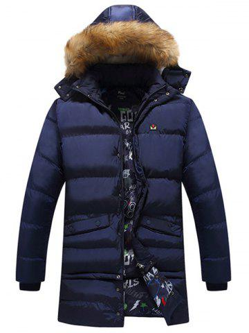 Detachable Hood Faux Fur Trim Coat - Deep Blue - L