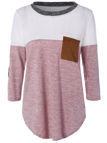 New Color Block Elbow Sleeve T-shirt LIGHT RED XL