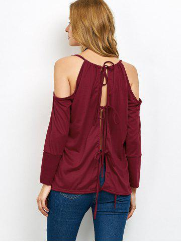 Cheap Cold Shoulder Lace Up Blouse WINE RED XL