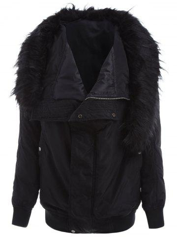 Long Coat With Furry Collar - Black - S