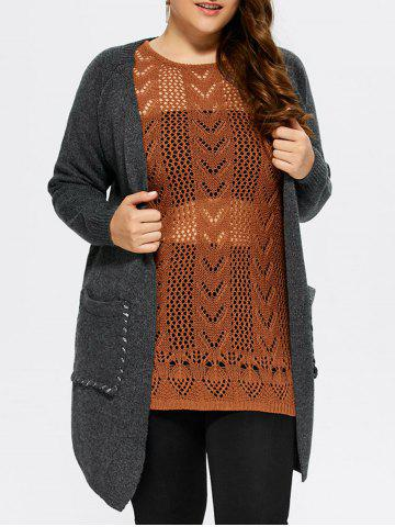 Cheap Plus Size Lace-Up Knitted Cardigan with Pockets