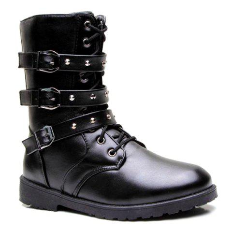 Store Lace Up Buckles Studded Boots
