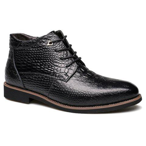 Casual Embossed Lace Up Boots - Black - 44