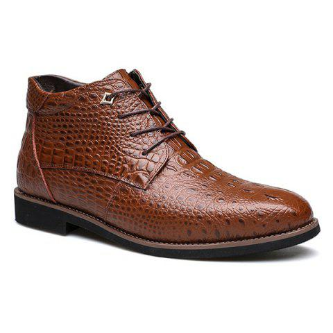 Casual Embossed Lace Up Boots - Brown - 42