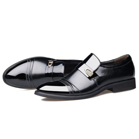 Fancy Metal Square Toe Formal Shoes - 43 BLACK Mobile