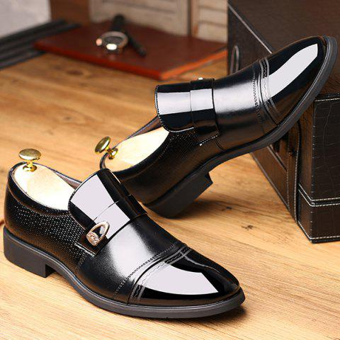 Online Metal Square Toe Formal Shoes - 42 BLACK Mobile