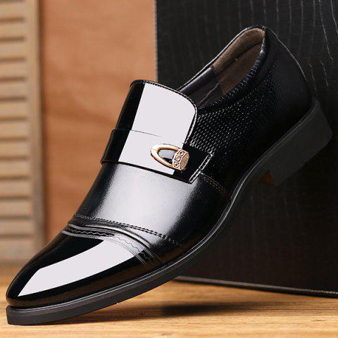 Latest Metal Square Toe Formal Shoes - 42 BLACK Mobile
