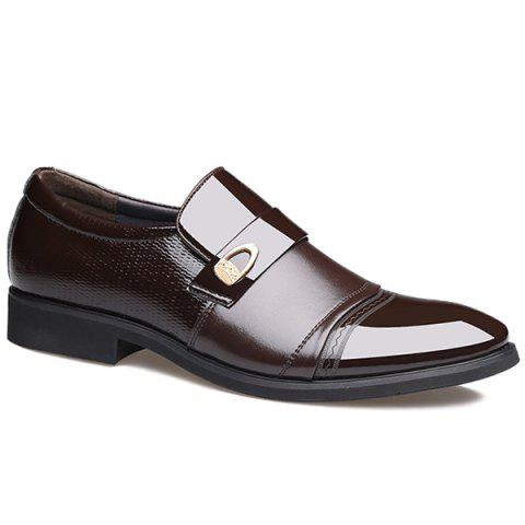 Metal Square Toe Formal Shoes - Brown - 43