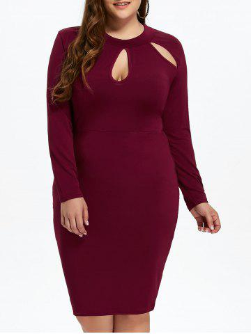 Cut Out Plus Size Bodycon Dress - Wine Red - 3xl