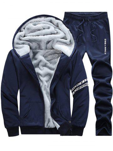 New Letter Printed Zip Up Hoodie Twinset - M CADETBLUE Mobile