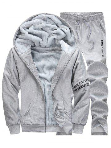 Letter Printed Zip Up Hoodie Twinset - Gray - L