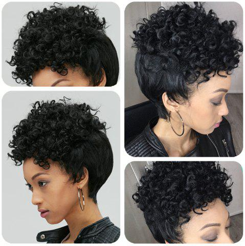 Chic Adiors Short Pixie Cut Curly Side Bang Synthetic Wig BLACK