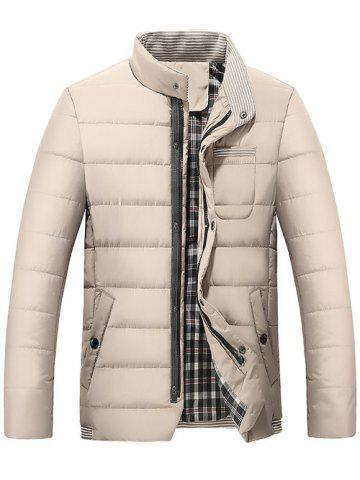 Stand Collar Zip Up Striped Quilted Jacket