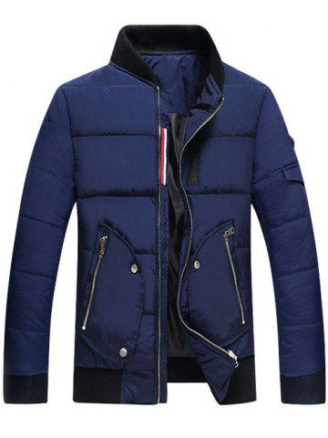 Zip Up Stand Collar Pocket Quilted Jacket