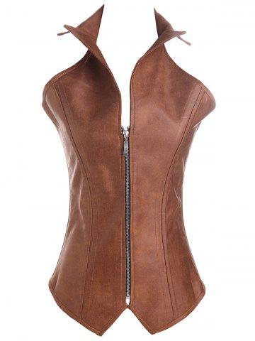 Criss Cross Faux Leather Corsets - Coffee - 5xl