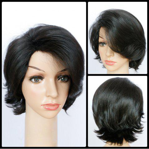 Outfit Shaggy Short Wavy Side Parting Synthetic Wig BLACK
