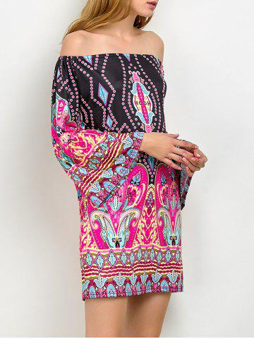 Unique Off The Shoulder Bohemian Print Tunic Dress