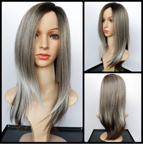 Discount Long Side Parting Natural Straight Color Mixed Synthetic Wig